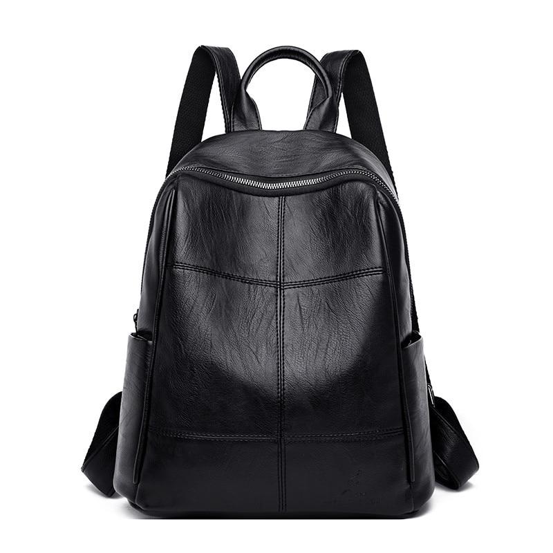 Simple Black Women Leather Backpacks Sac A Dos 2019 Multifunction Travel Bagpack School Shoulder Bags For Girls Mochila Feminina