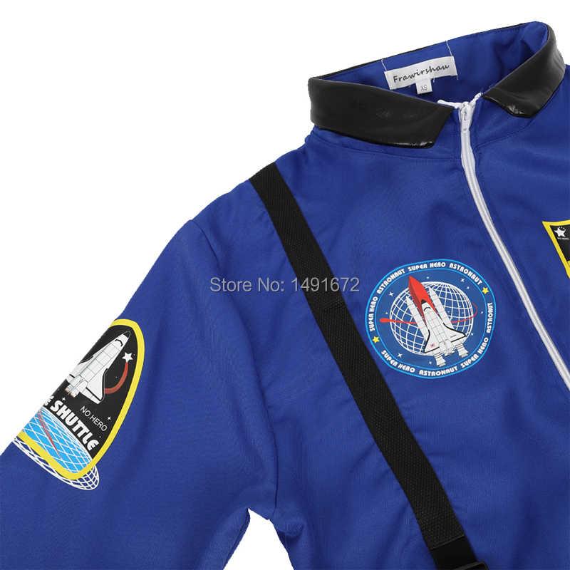 Astronaut kostuum volwassen astronaut vrouwen mannen vlucht ruimte pak jumpsuit halloween cosplay een stuk overalls blauw wit orange