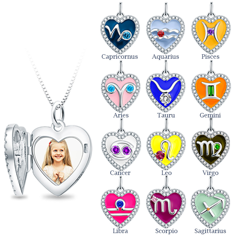 StrollGirl Sterling Silver 925 Engraved Constellation Necklaces Pendants Personalized Photo Heart Locket Necklaces for Gifts in Pendant Necklaces from Jewelry Accessories