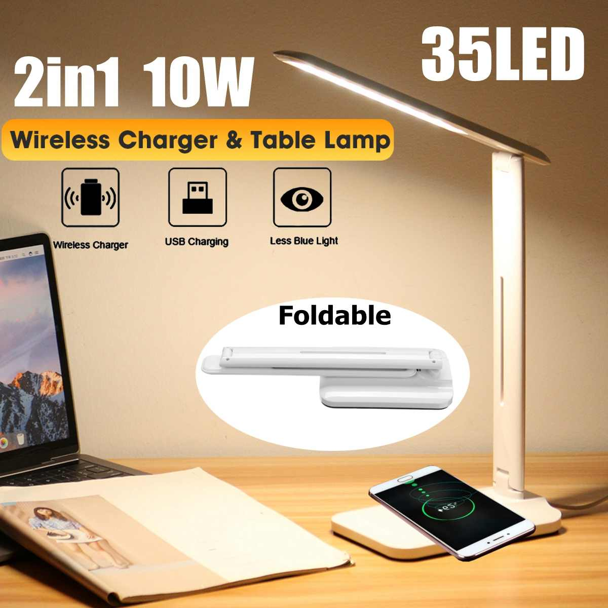 LED Desk Lamp 10W 2 In 1 Multi-Function Table Lamp Adjustment Home Lighting Fast Charging Wireless Charger 10W Power Qi Wireless