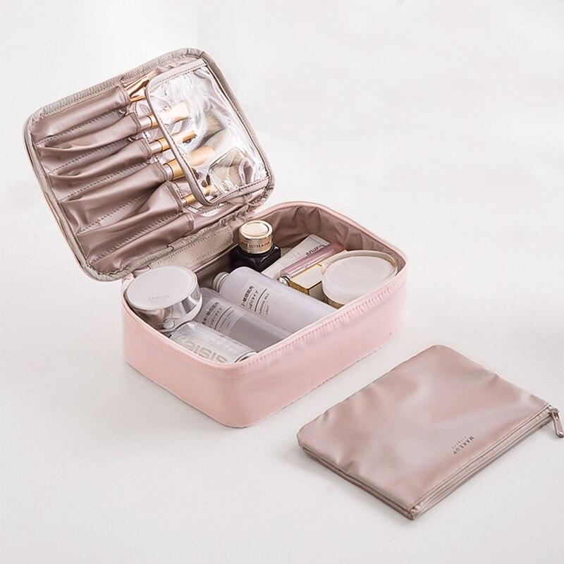 Travel Cosmetic Bag Beautician Make Up Bag Quick Makeup Bag Purse Toiletry Bag Organizer Pink Makeup Pouch Waterproof Handbag