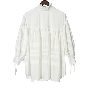 Image 2 - [EAM] 여성 주름 장식 분할 큰 크기 블라우스 새로운 스탠드 칼라 긴 소매 느슨한 맞는 셔츠 패션 봄 가을 2020 1D464