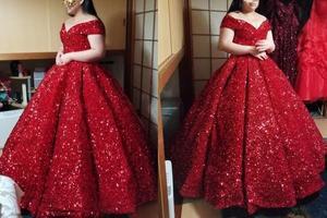 Image 5 - חתונת שמלת 2020 גברת Win יוקרה פאייטים סירת צוואר כדור שמלת נסיכה בלינג בלינג חתונת שמלת Vestido דה Noiva מותאם אישית גודל