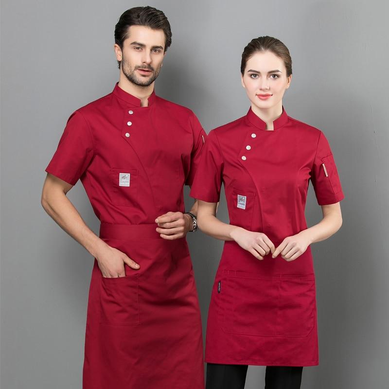 Summer Women And Men Kitchen Restaurant Cook Workwear Red Chef Uniform White Shirt Chef Jacket