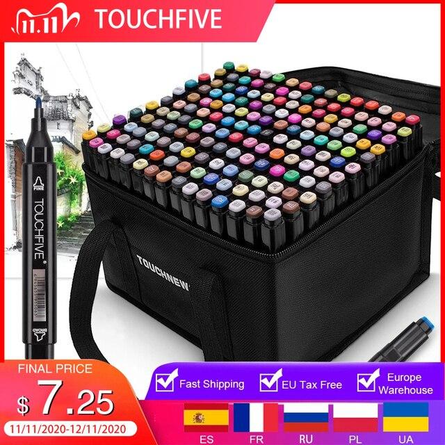 أقلام TOUCHFIVE بعدد ألوان 12 36 48 80 168 لون ثنائية الأطراف, أقلام رسم جرافيك كحولية تستخدم للتحديد المرجعي ولوازم الرسومات الفنية