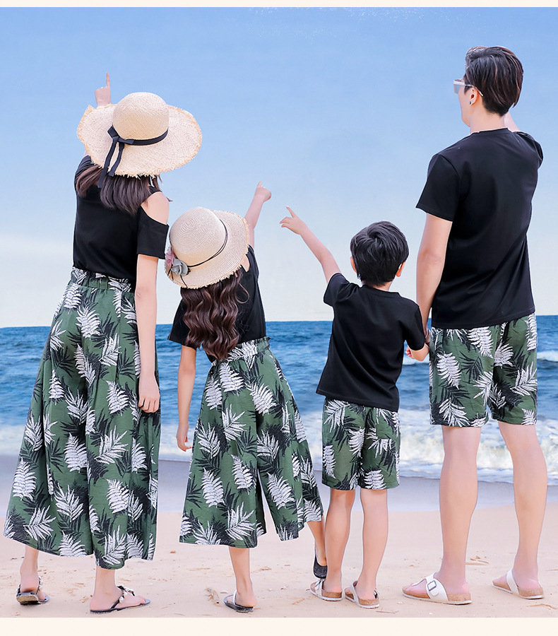 Hb1019f40f0f1440d854f05f6e102b69cu - Matching Family Outfits Summer Mum Daughter Dad Son Cotton T-shirt +Pants Holiday Seaside Beach Couples Matching Clothing