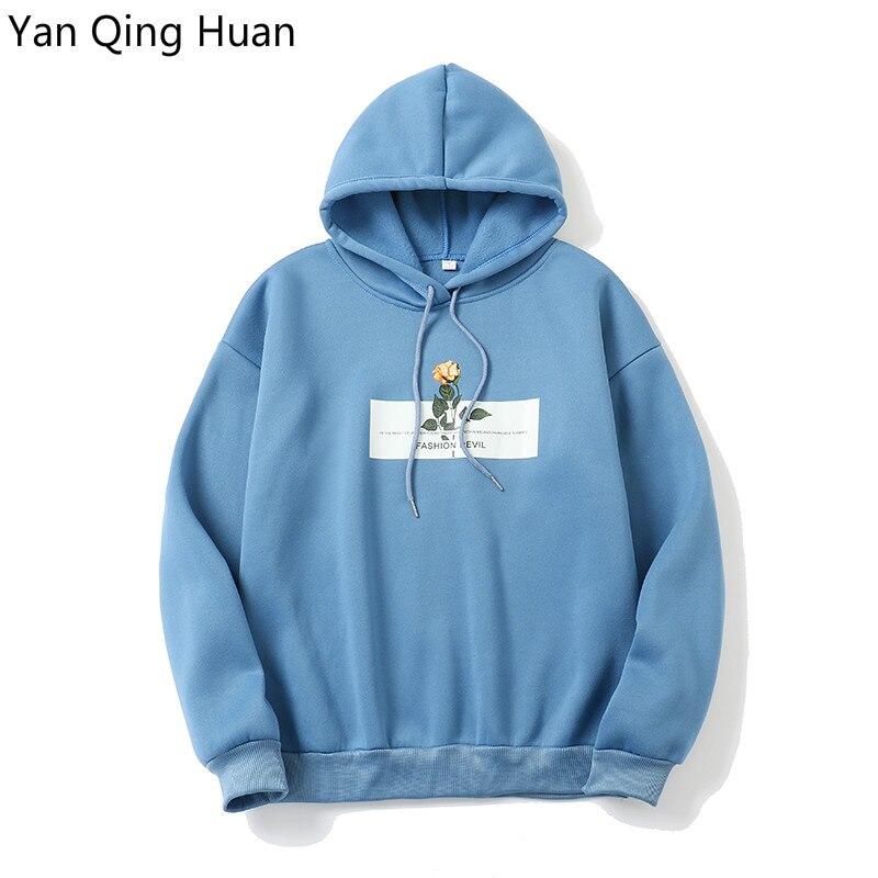 Yan Qing Huan New Winter Women's Hooded Sweatshirt Print Harajuku Rose Flower Sweatshirt Loose Pullover Fashion Tops Sportswear