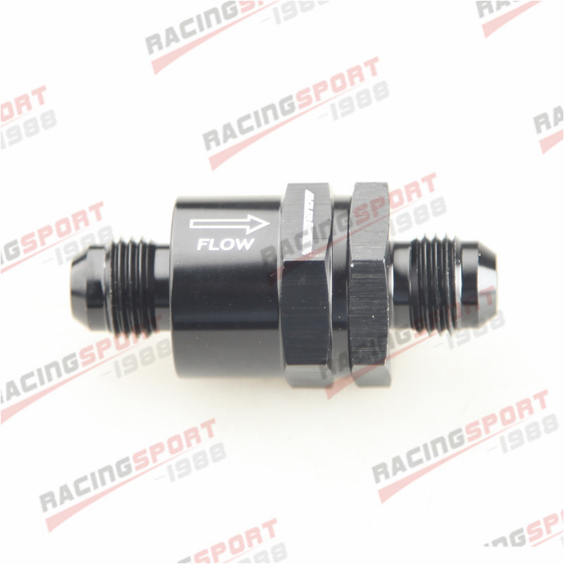AN6 -6AN Aluminium Non Return One Way Check Valve Fuel EFI Fitting Adapter Black