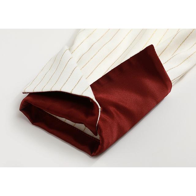 [EAM] Women Beige Striped Split Big Size Blouse New Lapel Long Sleeve Loose Fit Shirt Fashion Tide Spring Autumn 2020 1B449