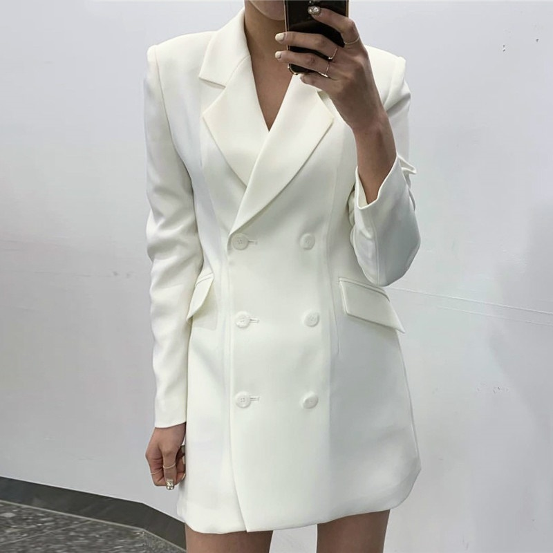 Double Breasted Slim Elegant Blazer Women Jacket Notched Collar Long Sleeve Suits Solid Fall 2019 White Coat Long Blazers