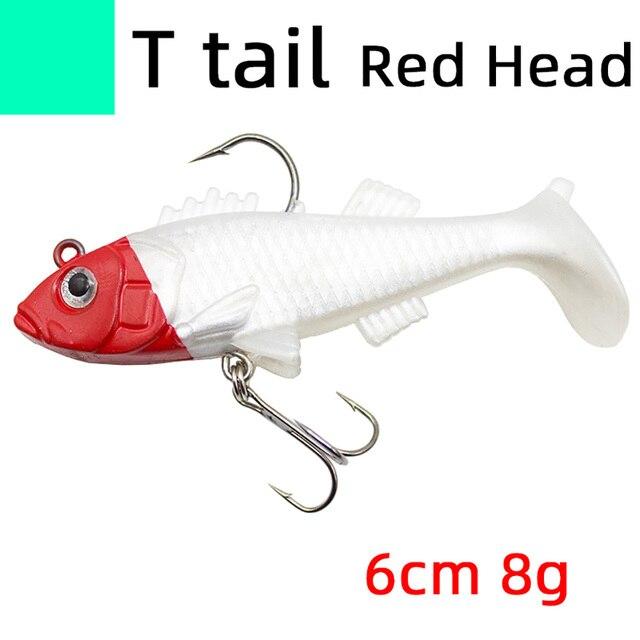 Lead Head Sea Fshing bionic tail lure soft bait pike shad bass trout fishing jig head wobbler Artificial 3D eye Swim bait tackle
