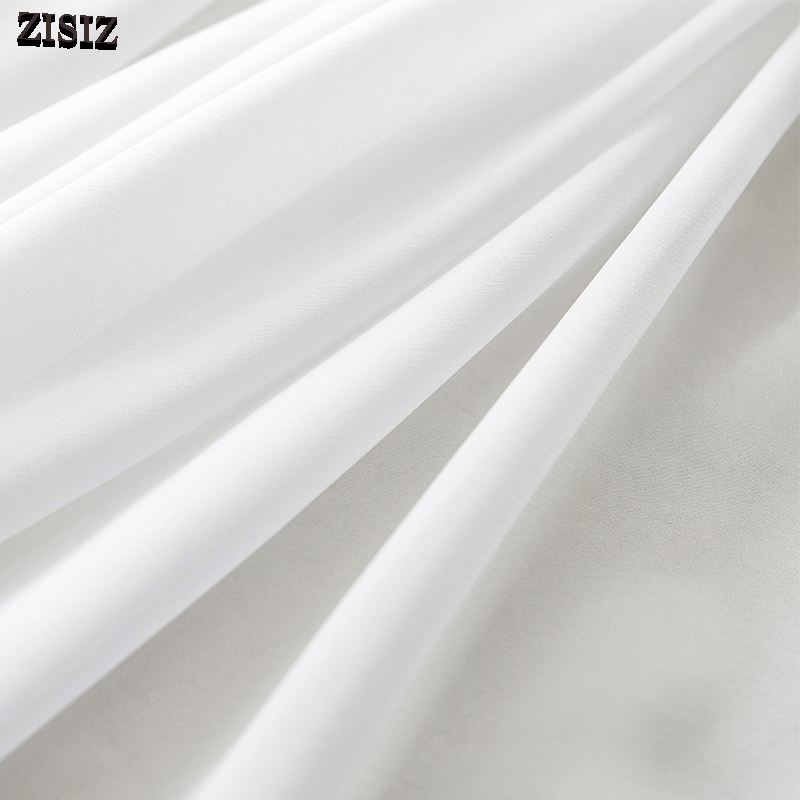 ZISIZ White Tulle Curtains For Living Room Modern Chiffon Window Screen Solid Curtains Drape Panel Sheer Voile Kitchen Curtain