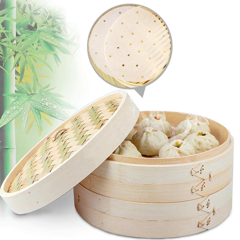 Chinese Dumplings Bamboo Steamer Cooker 10/15/20cm with Lid Dimsum