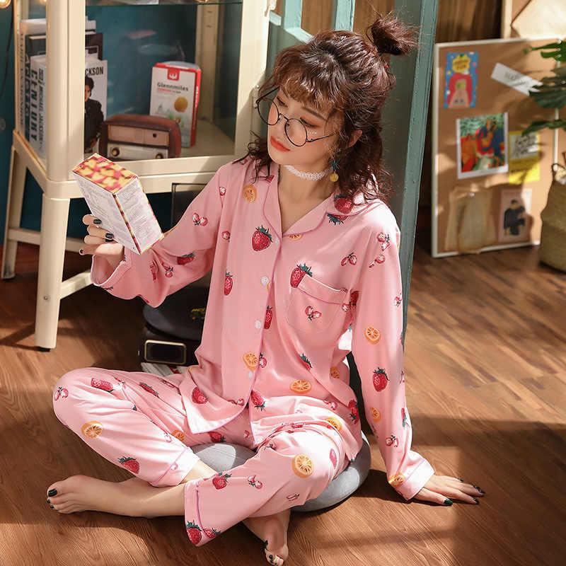 July's Lagu Kapas 2 Buah Piyama Set Wanita Baru Dicetak Warna-warni Baju Tidur Lengan Panjang Piyama Wanita Tidur Homewear