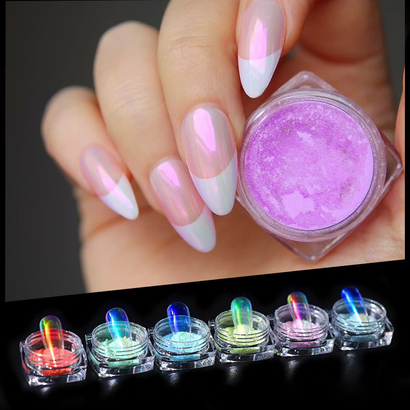 1 Box Ice Transparent Pearly Nail Pearl Mirror Powder Laser Glitter Pigment Nail Art Decorations Dust For UV Gel  0.2g