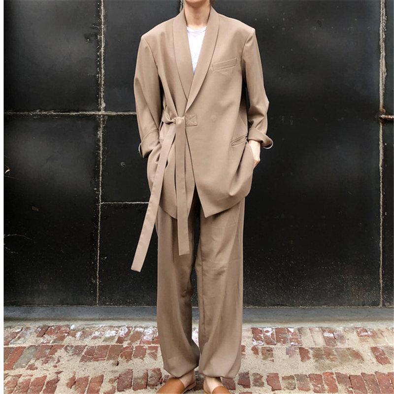 HziriP 2019 New Autumn Office Ladies Khaki Lace Up Solid OL Blazers + Vintage Drawstring Casual Pants Fresh Set 2 Pieces Sets