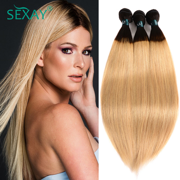 Sexay Blonde Straight Hair 3/4 Bundles Pack Peruvian Human Hair Extensions Two Tone T1B 27 Blonde Pre-colored Remy Hair Weaving