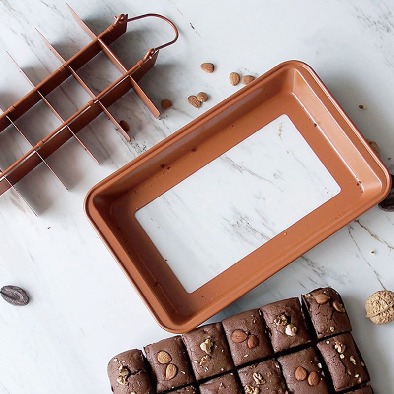Brownie Pan antiadhésif gâteau casseroles avec séparateurs 18 pré-tranche Brownie plaque de cuisson ustensiles de cuisson PI669