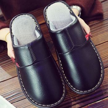 YEELOCA 2020 Home Slippers Women A001  Winter Leather Shoes Microfiber Slippers Short Plush Shoes KZ0NE