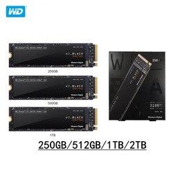 ويسترن ديجيتال WD SSD اسود 2 تيرا بايت 1 تيرا بايت 500GB 250GB M.2 2280 NVMe PCIe Gen3 * 4 محرك أقراص داخلي متين SN750 ثلاثية الأبعاد Nand