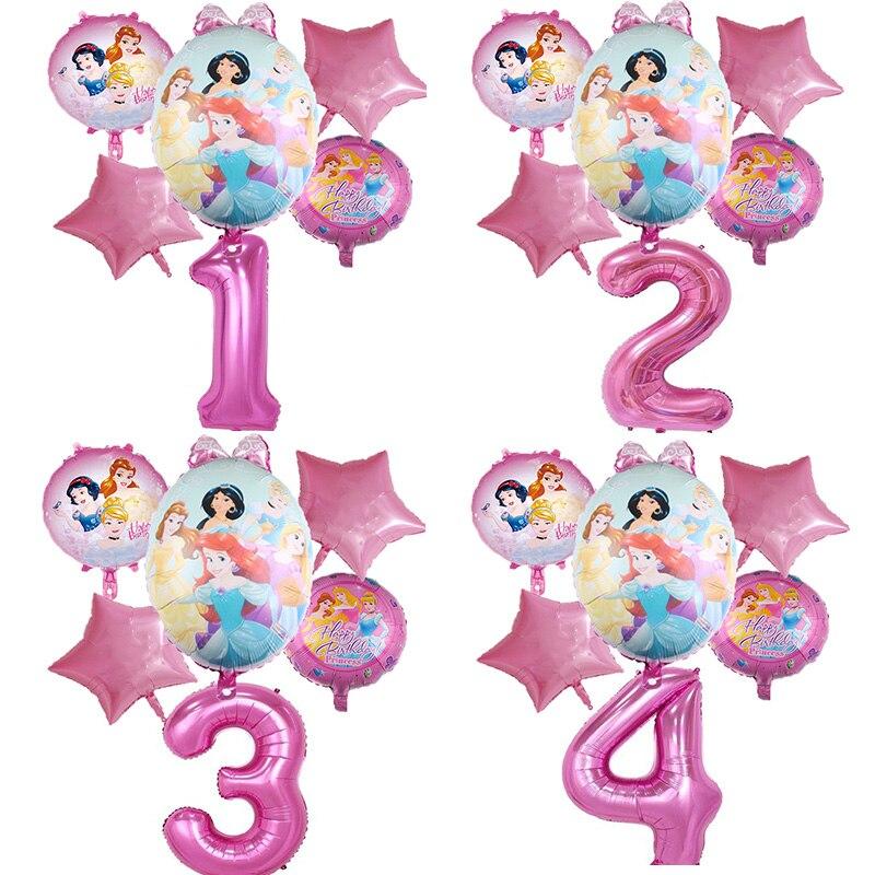 4 принцессы их на день рождения вечерние украшения фигурка из аниме «Astroboy (1 набор алюминиевой фольги набор воздушных шариков с Розовые возд...