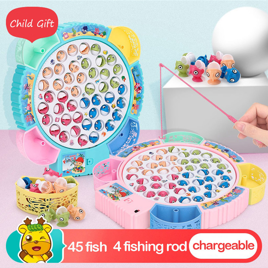 Kids Baby Fishing Game Toy Rechargeable With Light Rotating Music Best Gift Funny Kids Toys Present Juguetes Brinquedo игрушки