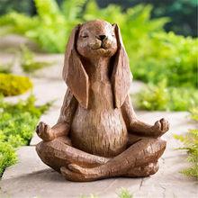 Yoga-Pose Kaninchen Harz Garten Statue Mit Blick von Geschnitzte Holz hause dekoration zubehör dekoration adornos para casa decoração
