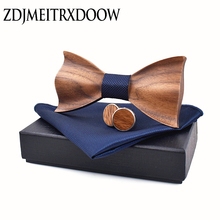 Wooden Tie Cufflinks Bow-Tie Wedding-Dinne New-Design Gravata-Set Corbata Square Handmade