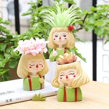 Get more info on the Cute Cartoon Girl Crafts Succulent Plant Pot Desktop Resin Flowerpot Home Decoration Lovely Flowerpot For Desk Bonsai Ornament