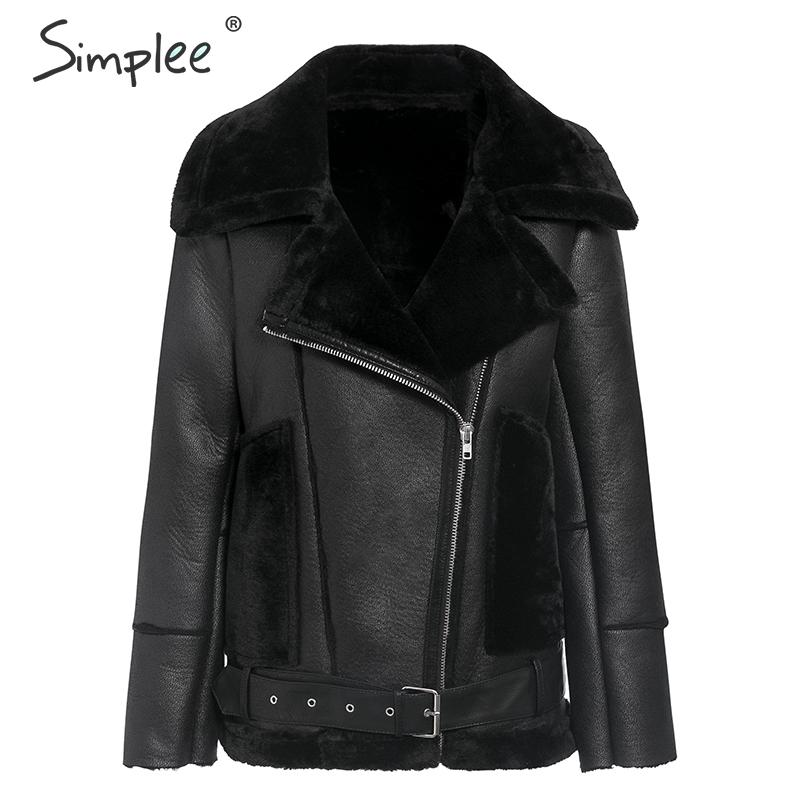 Simplee Thick pu   leather   winter coat women Zipper pockets sash belt faux fur jacket female Motor Outwear ladies warm overcoats