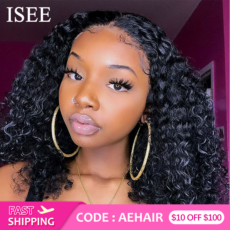 Mongolian Curly Short Human Hair Wigs For Women Lace Front Human Hair Wigs ISEE HAIR Wigs Remy 150% Density Bob Lace Front Wigs