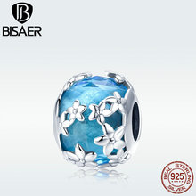 BISAER Glass Beads 925 Sterling Silver Blue Cutting Stone Daisy Flower Bead for Women s925diy Charm Bracelet Jewelry GXC878 charms blue daisy flower charm 100