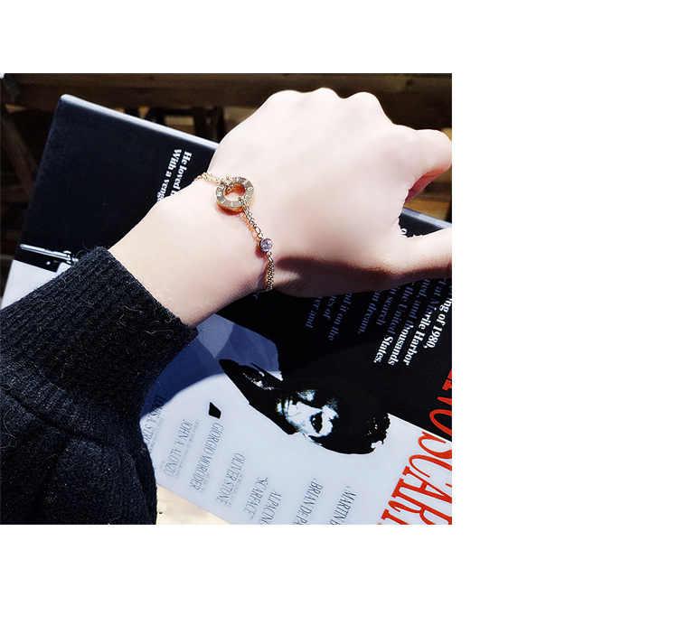 2019 retro รอบเปลือกหอยแฟชั่นบัลแกเรียคริสตัลจากบัลแกเรียไทเทเนียมสตีลโรมันดิจิตอลสร้อยข้อมือสำหรับสตรี