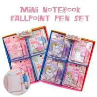 Lindo flamenco unicornio Mini cuaderno bolígrafo conjunto lindo Bloc de notas lápiz de papelería creativa regalo suministros de aprendizaje para niños