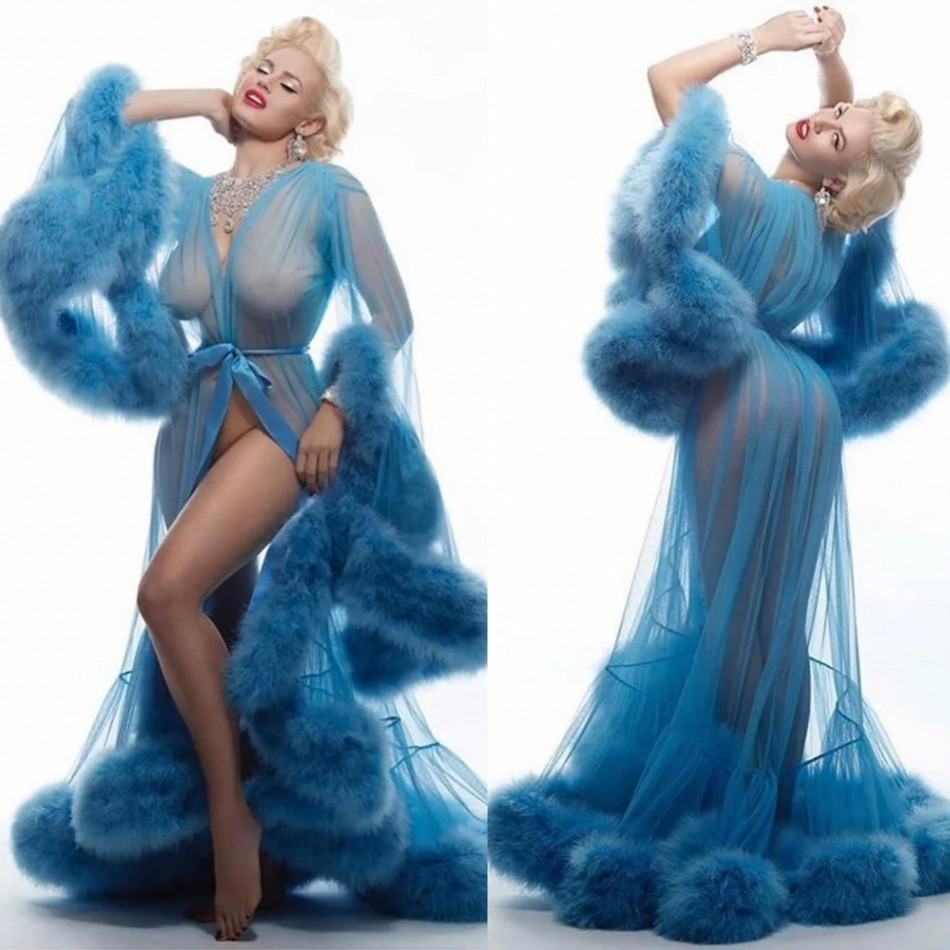 Fur Blue Womens Sleepwear Nightgown Wedding Prom Party Bathrobes Pyjams Robes Luxury Bride Sleepwear Bath Robes Women Pajama
