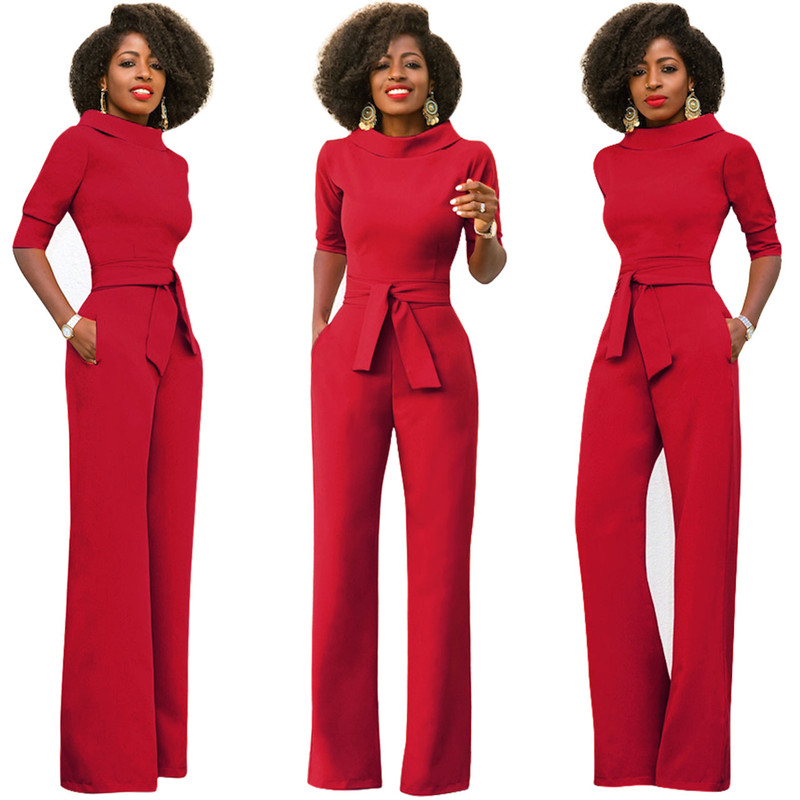 Women Straight Jumpsuits Half Sleeve Turtleneck Sash Lace Up Long Pants Party Club Romper Modern Lady Clothes Christmas Outwear