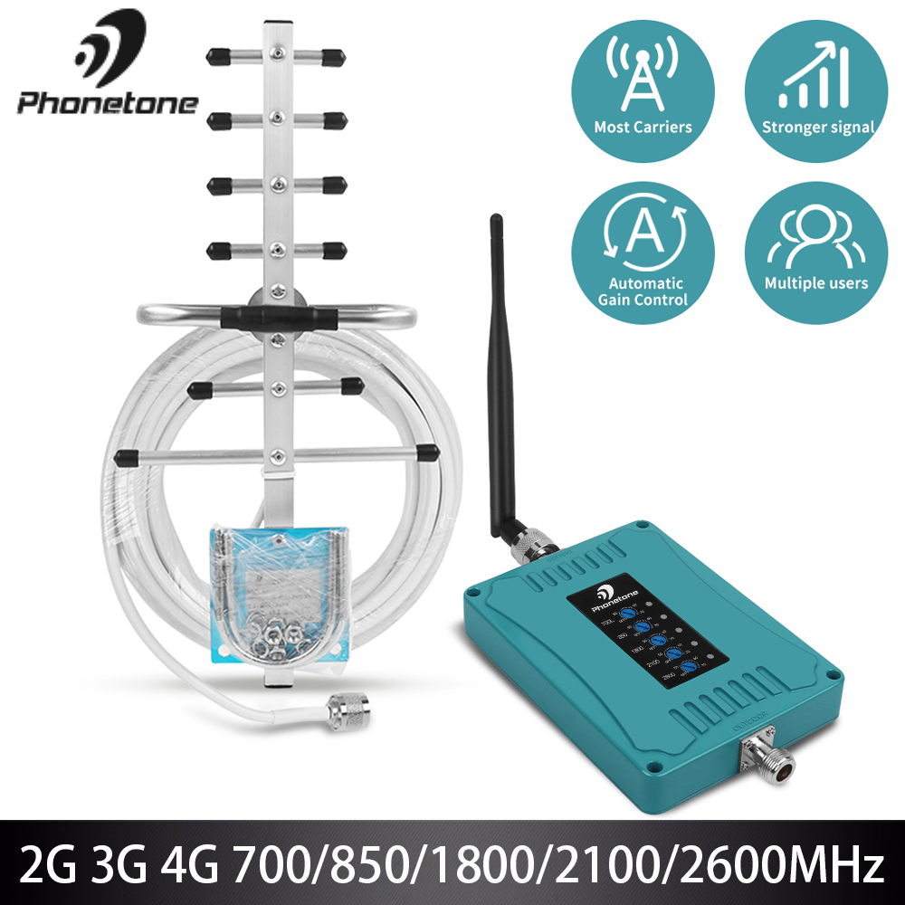 Cell Phone Signal Booster Lte Repeater 2G 3G 4G Amplifier LTE 700/850/1800/2100/2600MHz Celular Signal Booster 70dB GSM Repeater