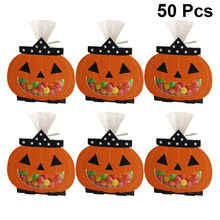 50Pcs Halloween Candy Bag Cute Cookie Bags Portable Paper Tote Bags For Party Favors Candies Chocolate Biscuits Bakery Supplies(China)