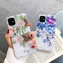 Art Fresh Flower Marble Shell Pattern Cover for IPhone 11 Pro Max Soft Silicone TPU Case for IPhone 11 Pro Max Case fresh flower pattern pu leather cover case w view window for iphone 6 purple