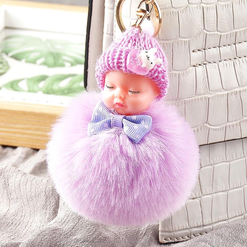 Cute Plush Keychain Sleeping Baby Doll Keychain Plush Kpop Accessories Pompom Keyring Toys For Girls Kawaii Keychain Bag Pendant