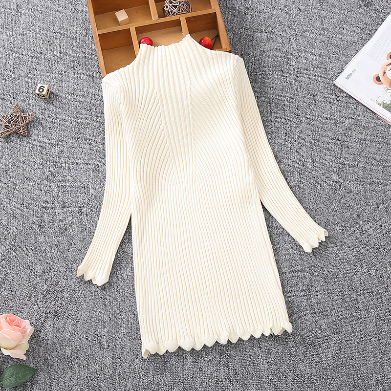 Kids Girls Knitted Sweater New Autumn Winter Baby turtleneck long Sweater for Teen Girls wear warm Clothing 2 4 5 8 <font><b>10</b></font> 12 13Year image