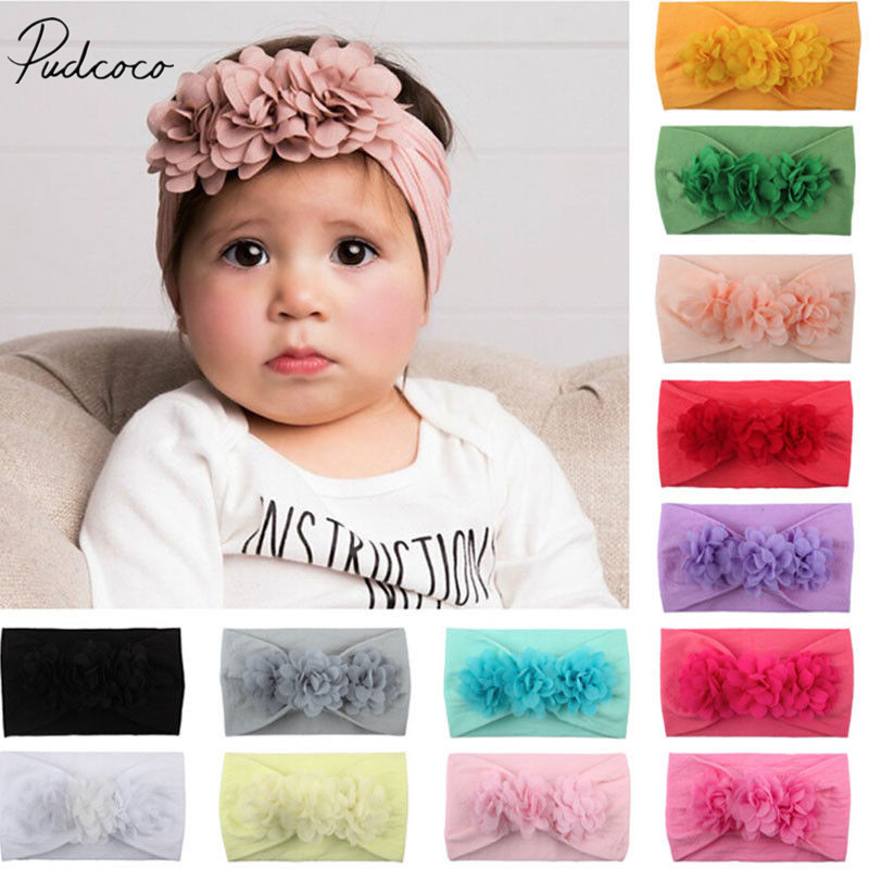 2019 Brand New Baby Girl Kids Toddler Lace Flower Headband Hair Bow Band Accessories Solid Headwear Hairband Photo Props Gifts