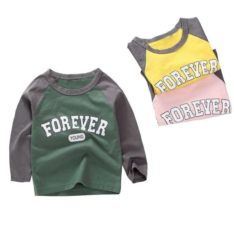 Новые весенние хлопковые футболки с героями мультфильмов для мальчиков и девочек Детские футболки для мальчиков и девочек, футболки с длинными рукавами детские топы, брендовая одежда для малышей от 12 месяцев до 8 лет