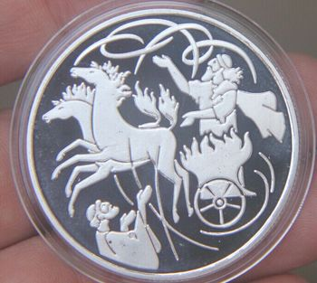Ilya in the whirlwind biblical story 40mm Commemorative Silver Plated Coin Souvenir Challenge Collectible Coins Collection image