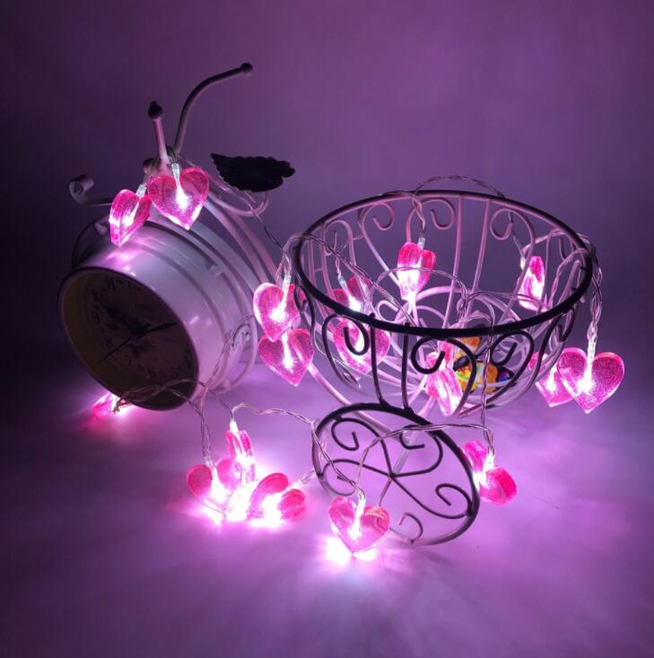 Loving LED Light String Curtain Decoration Room Decoration Neon Light Small Color Light White Heart-shaped Lamp