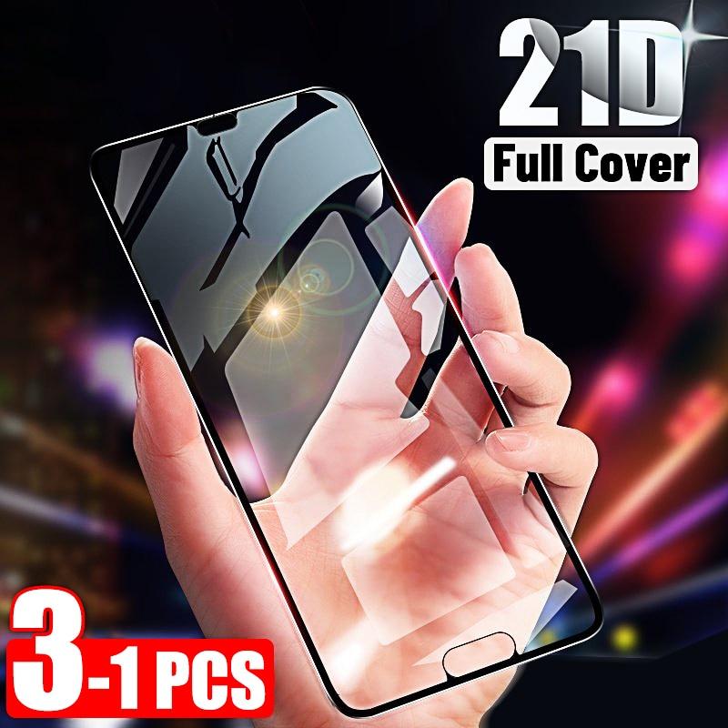 Protetor de tela 21d para huawei p20 lite p30, 1-3 peças de vidro temperado para huawei p smart z y6 2019 mate 20 pro lite 30 vidro