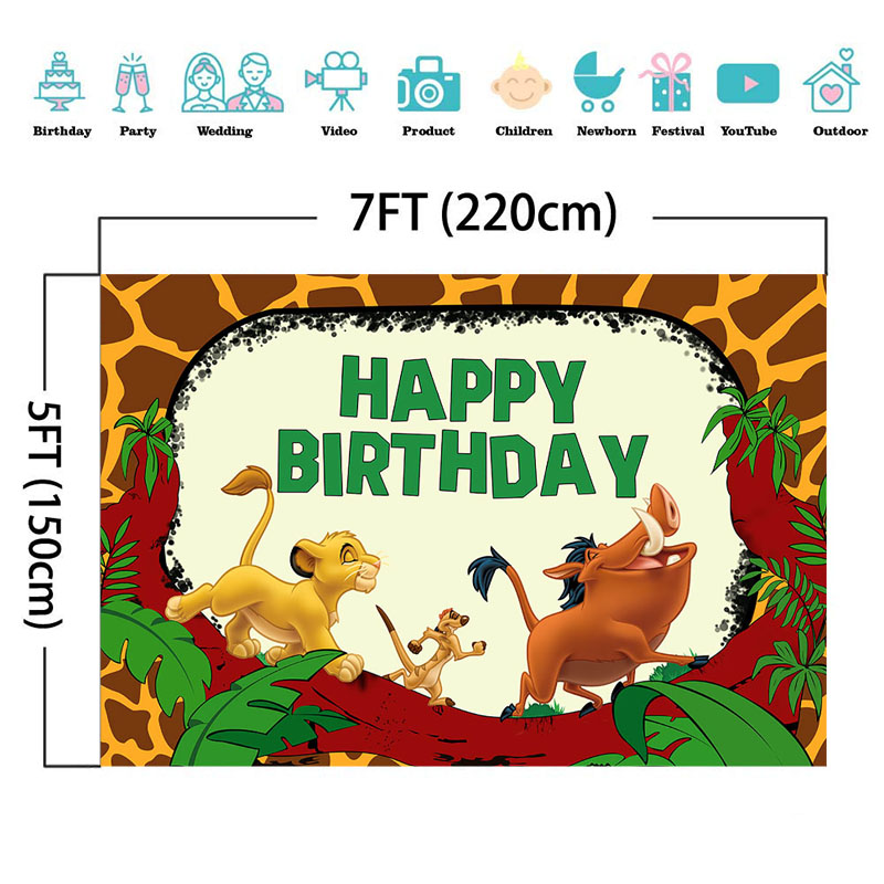 MOCSICKA Safari Animal Backdrop Jungle Little Lion Wild Boar Boy Birthday Banner Backgrounds Cake Table Decorations Props