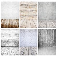 白レンガの壁木製床写真の背景ビニールスタジオの背景の子供の写真撮影ペット写真撮影の小道具