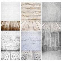 Parede de tijolos brancos piso de madeira foto pano fundo vinil estúdio fundos photoshoot para crianças brinquedo do bebê animal estimação fotografia adereços