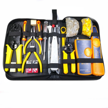 23Pcs Computer Network Repair Tool Kit LAN Cable Tester Wire Cutter Screwdriver Pliers Crimping Maintenance Tool Set Bag 1